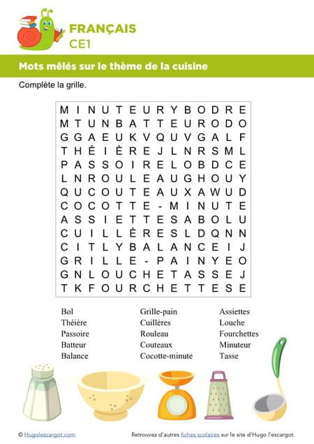 Fabuleux Vocabulaire, mots mêlés sur le thème de la cuisine QE97