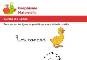 Suivre les lignes pour dessiner un canard