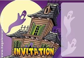 Carte invitation Halloween manoir hanté et fantômes