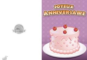 Carte anniversaire gâteau rose crème