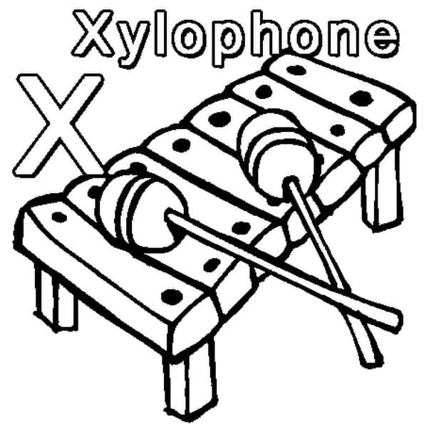 Coloriage X comme Xylophone en Ligne Gratuit à imprimer