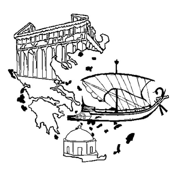 Dessin Grèce a colorier