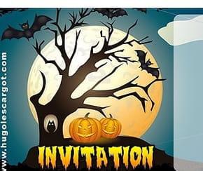 Carte invitation Halloween arbres morts et citrouilles
