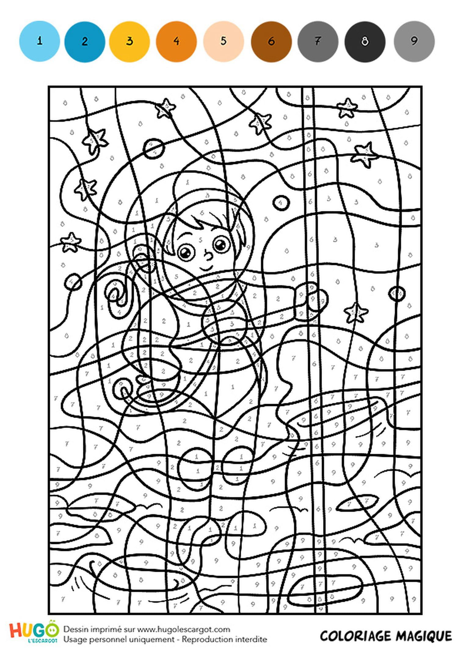 Coloriage Magique CM32, le garçon astronaute