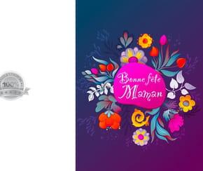 Carte florale violette fête des Mères