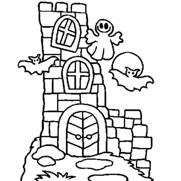 Dessin Chateau Halloween a colorier
