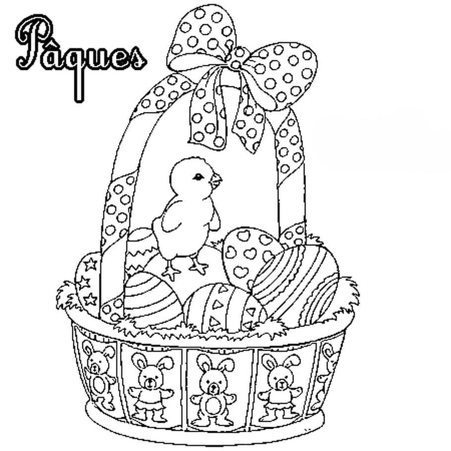 Coloriage Carte de Pâques panier et poussins en Ligne Gratuit à imprimer