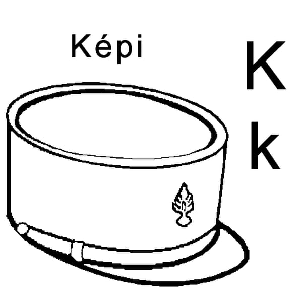 Coloriage lettre K comme képi en Ligne Gratuit à imprimer