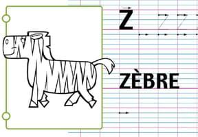 Lettre alphabet Z, apprendre à écrire