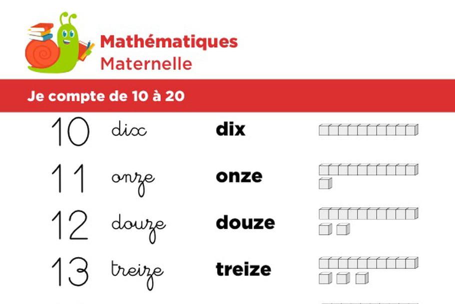 Mathématiques fiche 2, je compte de 10à 20