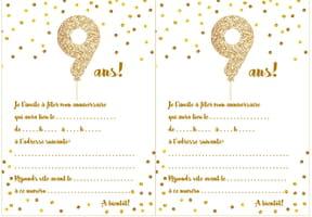Carte d'invitation d'anniversaire 9ans