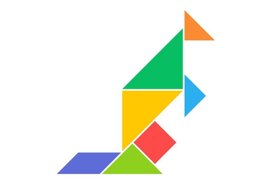 Le tangram niveau facile, un kangourou