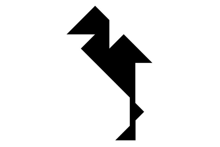 Le tangram niveau difficile, un oiseau, la grue