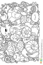 Coloriage Personnages et animaux kawaii en Ligne Gratuit à imprimer