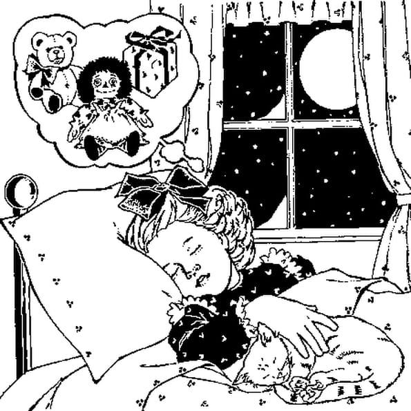 Dessin rêve de Noël a colorier