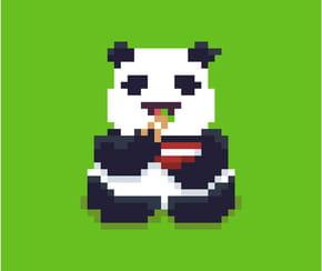 Panda gourmand en pixel art