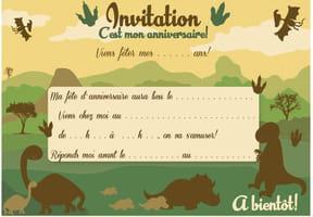 Carte d'invitation d'anniversaire thème des dinosaures