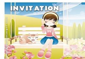 Carte invitation anniversaire petite fille