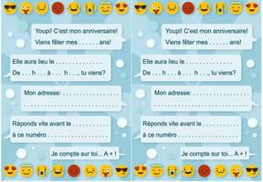 Carte d'invitation d'anniversaire thème smiley et émoticônes
