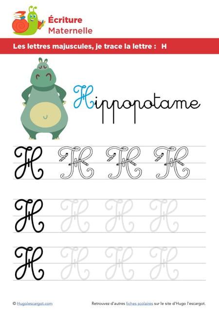 Les lettres majuscules je trace la lettre h - H en majuscule ...
