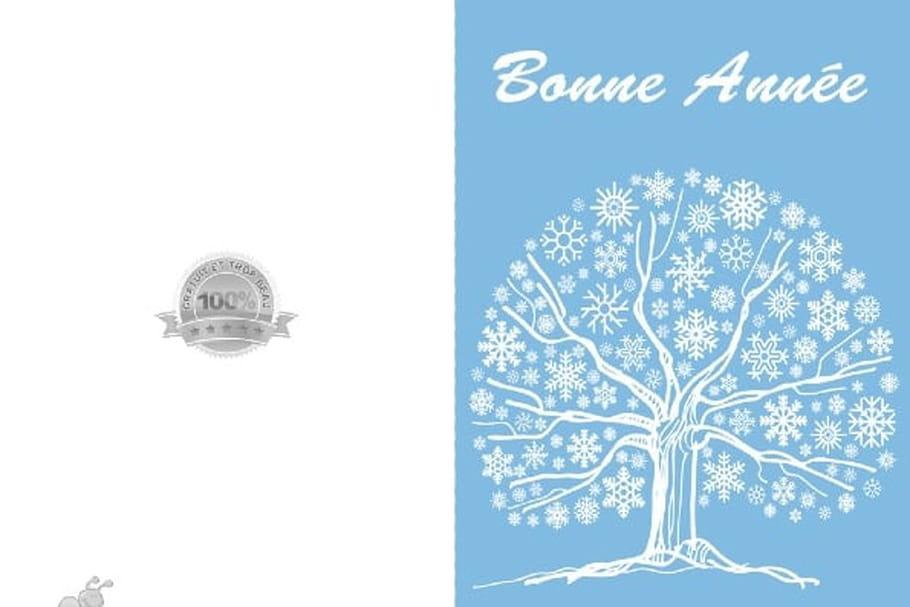 Carte arbre et flocons - Modele carte de voeux gratuite a imprimer ...