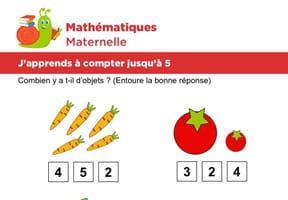 Mathématiques fiche 2, j'apprends à compter jusqu'à 5