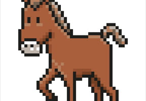 Cheval marron en pixel art