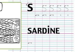Lettre alphabet S, apprendre à écrire