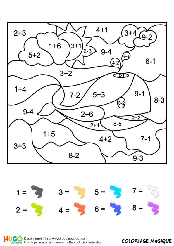 Coloriage magique CP: une baleine