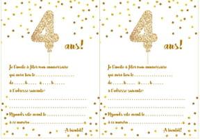 Carte d'invitation d'anniversaire 4ans