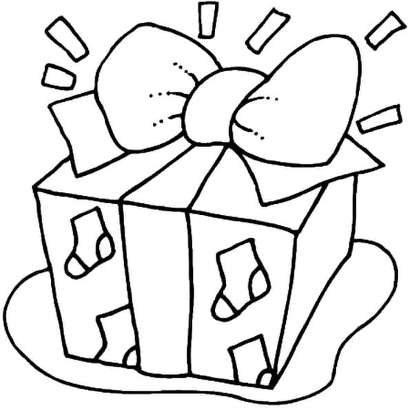 Coloriage cadeau de noël en Ligne Gratuit à imprimer