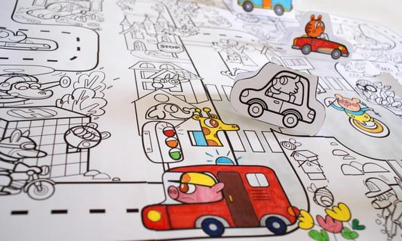 Coloriage géant, le jeu de la route