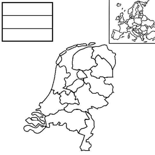 Coloriage carte pays bas en Ligne Gratuit à imprimer