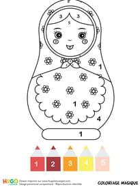 Coloriage magique CP: une poupée matriochka