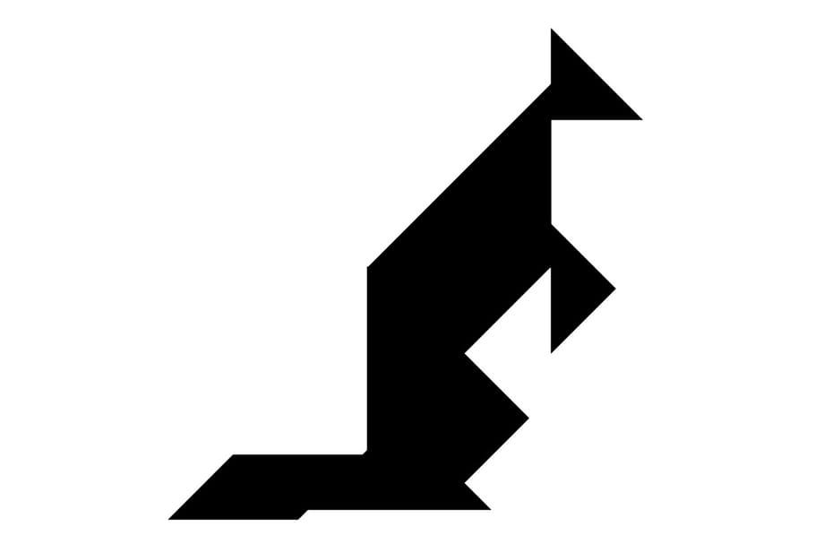 Le tangram niveau difficile, un kangourou