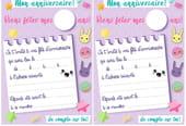 Carte d'invitation d'anniversaire thème kawaii