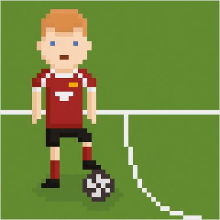 Footballeur Sur Le Terrain En Pixel Art