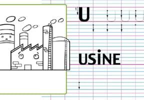 Lettre alphabet U, apprendre à écrire