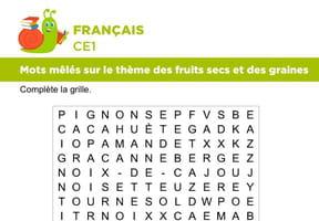 Vocabulaire, mots mêlés sur le thème des fruits secs et des graines