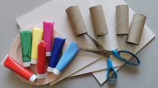 Matériel nécessaire pour peindre avec des rouleaux de papier toilette
