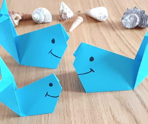 Baleine en origami, pliage papier