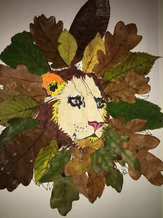 Lion en feuilles d'automne: voici le résultat