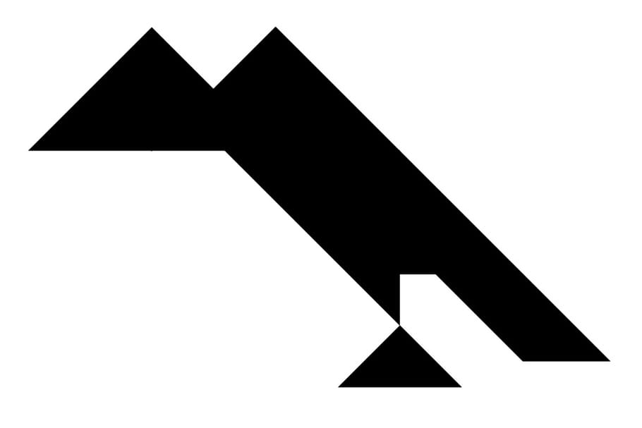 Le tangram niveau difficile, un corbeau