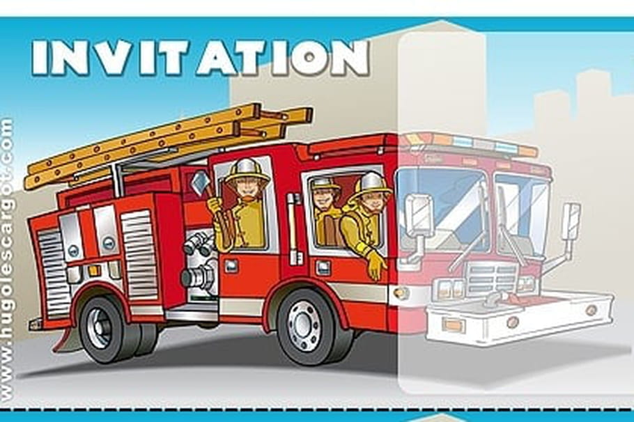 Favorit Carte invitation anniversaire camion de pompiers OS53