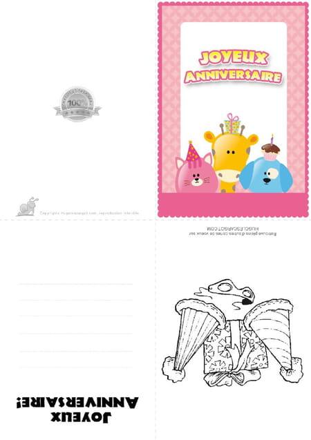 Carte anniversaire Animaux