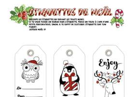 Étiquettes de Noël blanches et rouges