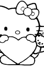 Coloriage hello kitty coeur