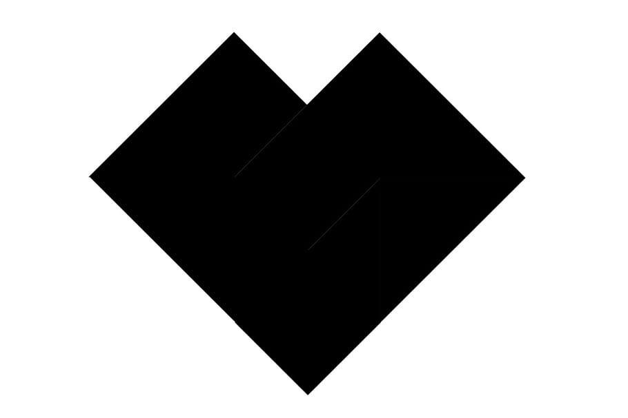 Le tangram niveau difficile, un cœur