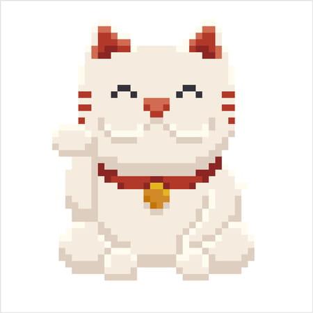 Maneki Neko Chat Porte Bonheur En Pixel Art