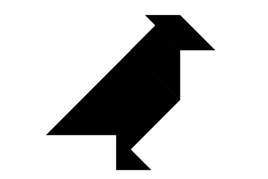 Le tangram niveau difficile, un oiseau, le geai
